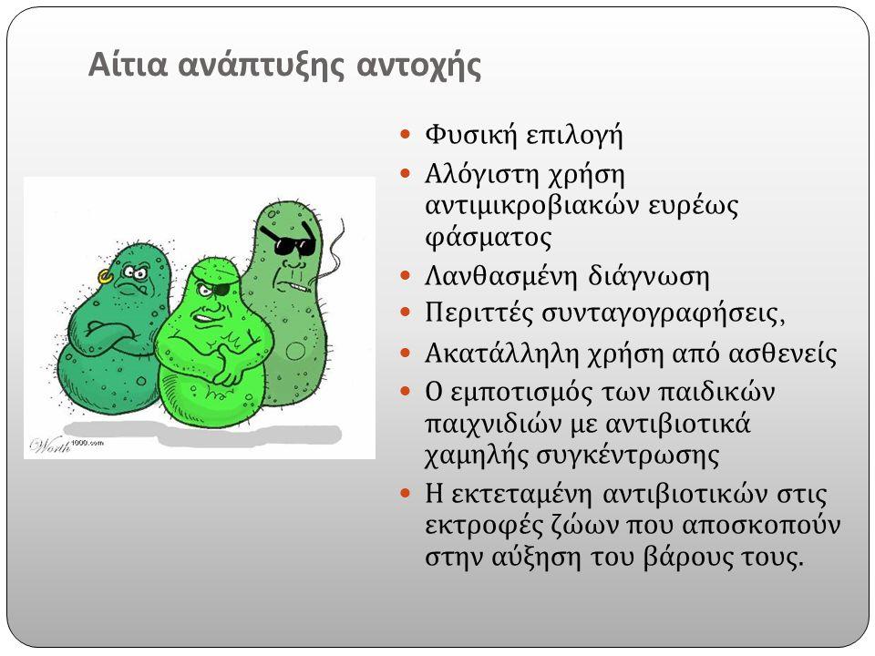 Αίτια ανάπτυξης αντοχής Φυσική επιλογή Αλόγιστη χρήση αντιμικροβιακών ευρέως φάσματος Λανθασμένη διάγνωση Περιττές συνταγογραφήσεις, Ακατάλληλη χρήση από ασθενείς Ο εμποτισμός των παιδικών παιχνιδιών με αντιβιοτικά χαμηλής συγκέντρωσης Η εκτεταμένη αντιβιοτικών στις εκτροφές ζώων που αποσκοπούν στην αύξηση του βάρους τους.