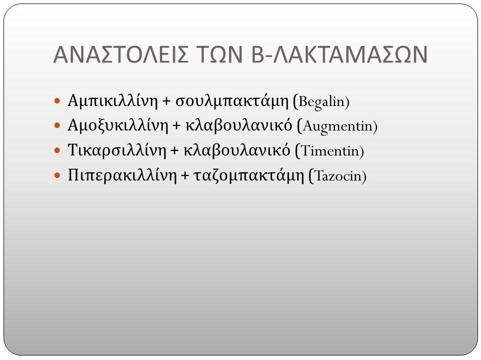 ΑΝΑΣΤΟΛΕΙΣ ΤΩΝ Β - ΛΑΚΤΑΜΑΣΩΝ Αμπικιλλίνη + σουλμπακτάμη (Begalin) Αμοξυκιλλίνη + κλαβουλανικό (Augmentin) Τικαρσιλλίνη + κλαβουλανικό (Timentin) Πιπερακιλλίνη + ταζομπακτάμη (Tazocin)