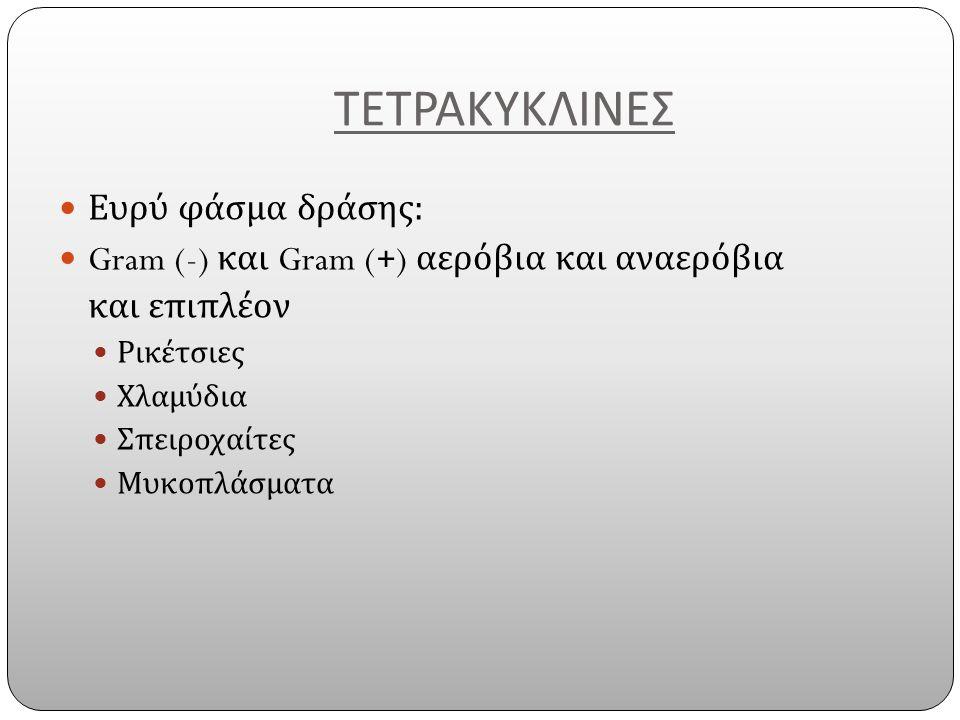 ΤΕΤΡΑΚΥΚΛΙΝΕΣ Ευρύ φάσμα δράσης : Gram (-) και Gram (+) αερόβια και αναερόβια και επιπλέον Ρικέτσιες Χλαμύδια Σπειροχαίτες Μυκοπλάσματα