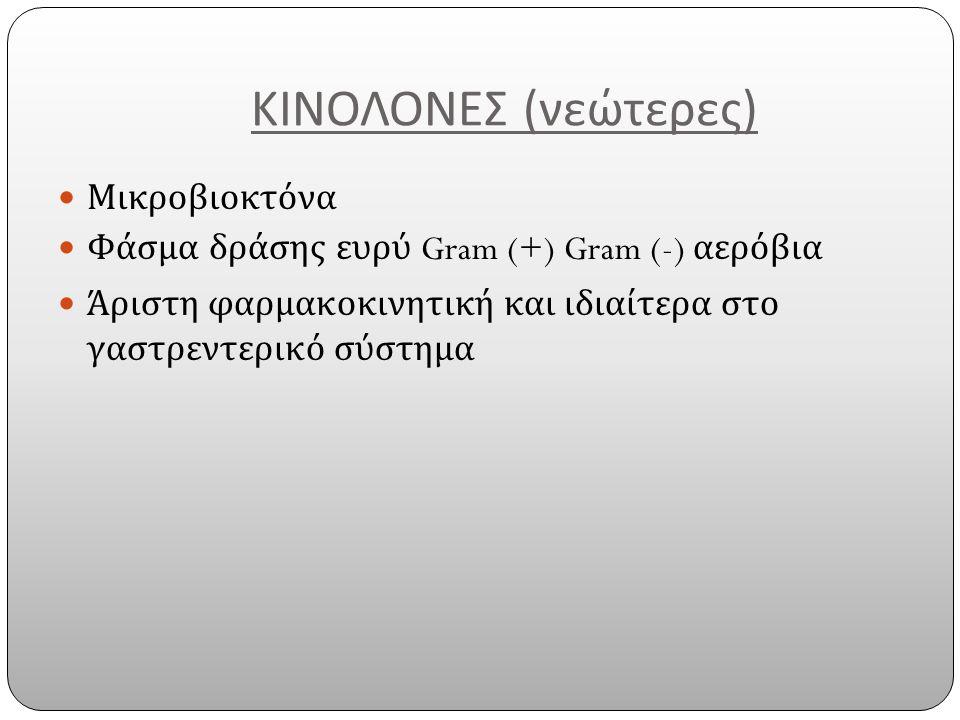 ΚΙΝΟΛΟΝΕΣ ( νεώτερες ) Μικροβιοκτόνα Φάσμα δράσης ευρύ Gram (+) Gram (-) αερόβια Άριστη φαρμακοκινητική και ιδιαίτερα στο γαστρεντερικό σύστημα