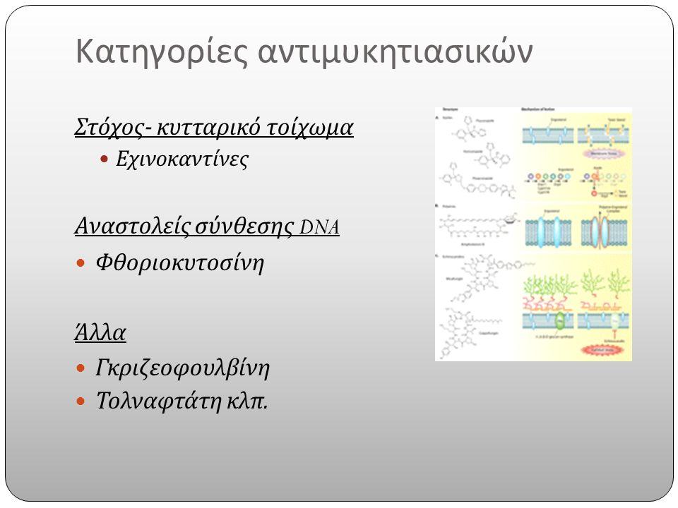 Κατηγορίες αντιμυκητιασικών Στόχος - κυτταρικό τοίχωμα Εχινοκαντίνες Αναστολείς σύνθεσης DNA Φθοριοκυτοσίνη Άλλα Γκριζεοφουλβίνη Τολναφτάτη κλπ.