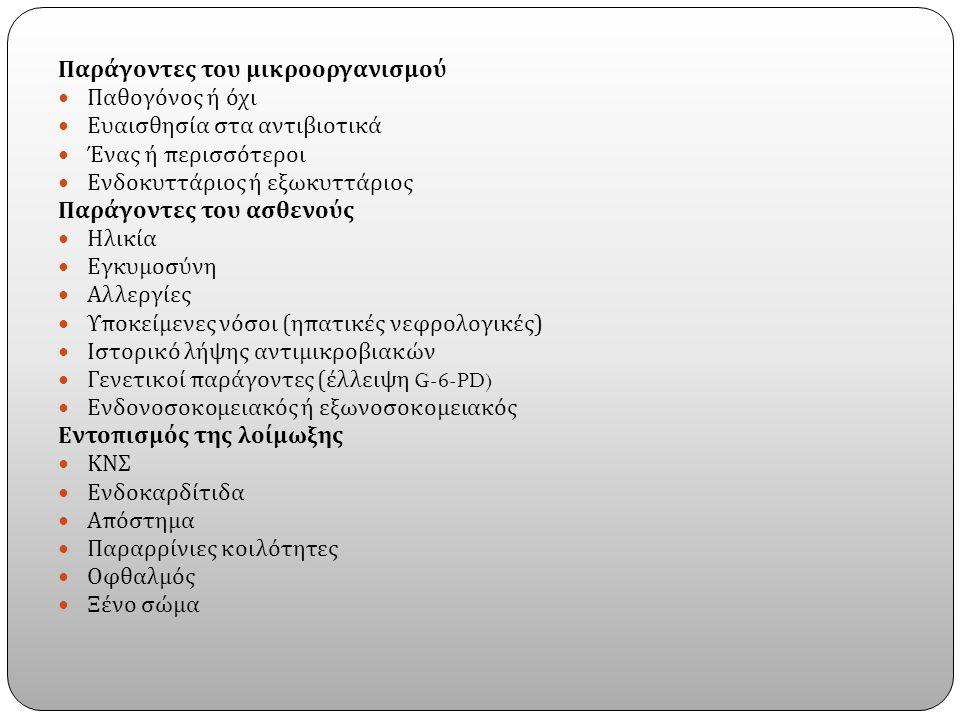 Παράγοντες του μικροοργανισμού Παθογόνος ή όχι Ευαισθησία στα αντιβιοτικά Ένας ή περισσότεροι Ενδοκυττάριος ή εξωκυττάριος Παράγοντες του ασθενούς Ηλικία Εγκυμοσύνη Αλλεργίες Υποκείμενες νόσοι ( ηπατικές νεφρολογικές ) Ιστορικό λήψης αντιμικροβιακών Γενετικοί παράγοντες ( έλλειψη G-6-PD) Ενδονοσοκομειακός ή εξωνοσοκομειακός Εντοπισμός της λοίμωξης ΚΝΣ Ενδοκαρδίτιδα Απόστημα Παραρρίνιες κοιλότητες Οφθαλμός Ξένο σώμα