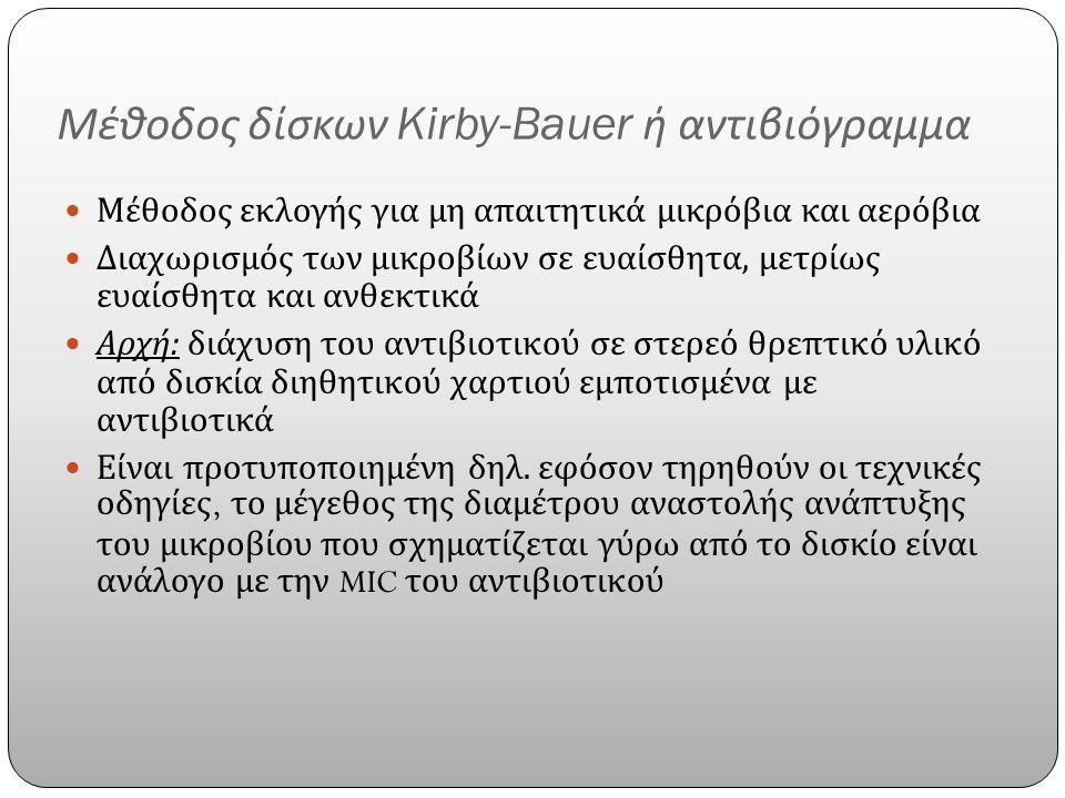 Μέθοδος δίσκων Kirby-Bauer ή αντιβιόγραμμα Μέθοδος εκλογής για μη απαιτητικά μικρόβια και αερόβια Διαχωρισμός των μικροβίων σε ευαίσθητα, μετρίως ευαίσθητα και ανθεκτικά Αρχή : διάχυση του αντιβιοτικού σε στερεό θρεπτικό υλικό από δισκία διηθητικού χαρτιού εμποτισμένα με αντιβιοτικά Είναι προτυποποιημένη δηλ.
