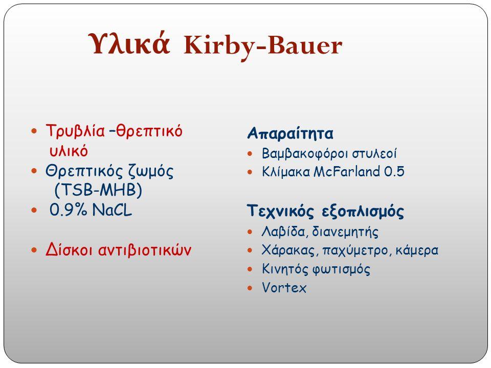 Απαραίτητα Βαμβακοφόροι στυλεοί Κλίμακα McFarland 0.5 Τεχνικός εξοπλισμός Λαβίδα, διανεμητής Χάρακας, παχύμετρο, κάμερα Κινητός φωτισμός Vortex Τρυβλία –θρεπτικό υλικό Θρεπτικός ζωμός (TSB-MHB) 0.9% NaCL Δίσκοι αντιβιοτικών Υλικά Kirby-Bauer