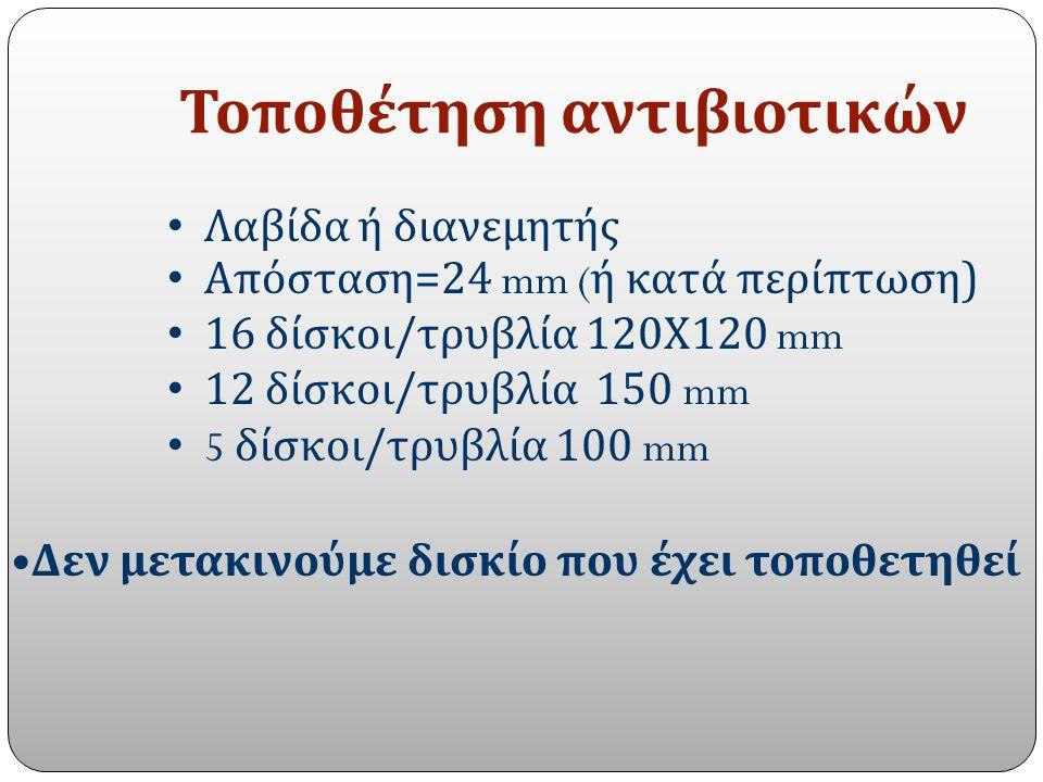 Τοποθέτηση αντιβιοτικών Λαβίδα ή διανεμητής Απόσταση=24 mm ( ή κατά περίπτωση) 16 δίσκοι/τρυβλία 120Χ120 mm 12 δίσκοι/τρυβλία 150 mm 5 δίσκοι/τρυβλία 100 mm Δεν μετακινούμε δισκίο που έχει τοποθετηθεί