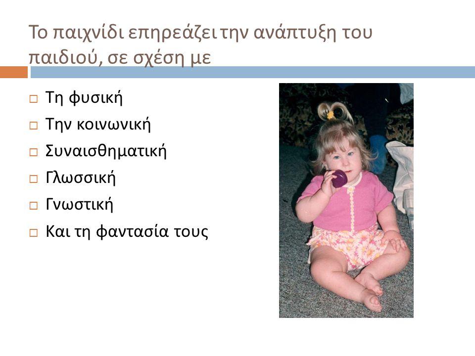 Το παιχνίδι επηρεάζει την ανάπτυξη του παιδιού, σε σχέση με  Τη φυσική  Την κοινωνική  Συναισθηματική  Γλωσσική  Γνωστική  Και τη φαντασία τους