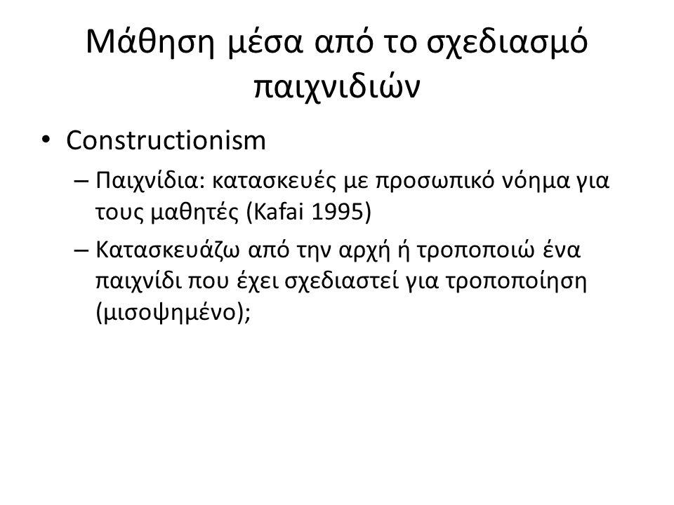 Μάθηση μέσα από το σχεδιασμό παιχνιδιών Constructionism – Παιχνίδια: κατασκευές με προσωπικό νόημα για τους μαθητές (Kafai 1995) – Κατασκευάζω από την αρχή ή τροποποιώ ένα παιχνίδι που έχει σχεδιαστεί για τροποποίηση (μισοψημένο);
