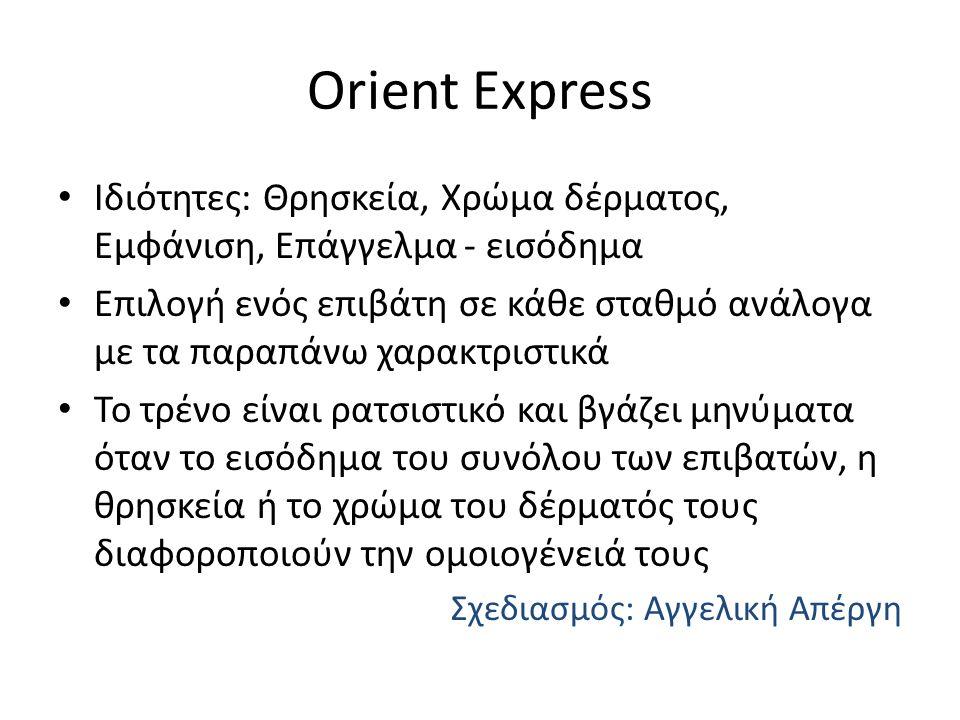 Orient Express Ιδιότητες: Θρησκεία, Χρώμα δέρματος, Εμφάνιση, Επάγγελμα - εισόδημα Επιλογή ενός επιβάτη σε κάθε σταθμό ανάλογα με τα παραπάνω χαρακτριστικά Το τρένο είναι ρατσιστικό και βγάζει μηνύματα όταν το εισόδημα του συνόλου των επιβατών, η θρησκεία ή το χρώμα του δέρματός τους διαφοροποιούν την ομοιογένειά τους Σχεδιασμός: Αγγελική Απέργη