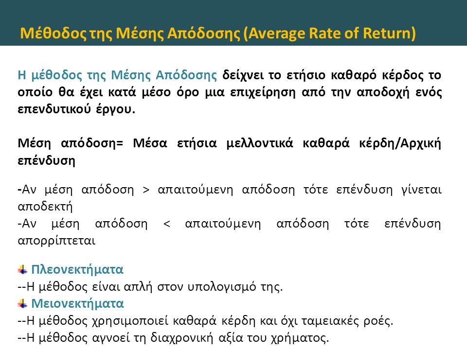 Μέθοδος της Μέσης Απόδοσης (Average Rate of Return) Η μέθοδος της Μέσης Απόδοσης δείχνει το ετήσιο καθαρό κέρδος το οποίο θα έχει κατά μέσο όρο μια επιχείρηση από την αποδοχή ενός επενδυτικού έργου.