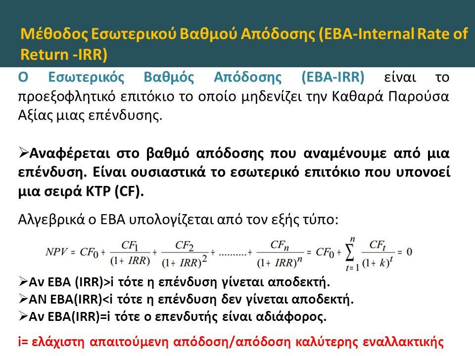 Μέθοδος Εσωτερικού Βαθμού Απόδοσης (ΕΒΑ-Internal Rate of Return -IRR) O Εσωτερικός Βαθμός Απόδοσης (ΕΒΑ-IRR) είναι το προεξοφλητικό επιτόκιο το οποίο μηδενίζει την Καθαρά Παρούσα Αξίας μιας επένδυσης.