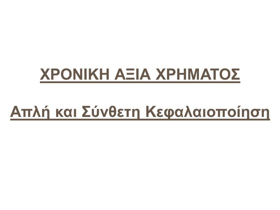 Διαχρονική Αξία του χρήματος Προτιμάτε ένα ευρώ σήμερα ή ένα ευρώ μετά από ένα έτος; (υποθέτουμε ότι δεν υπάρχει πληθωρισμός...) Έννοια του τόκου (κόστος ευκαιρίας του χρήματος) Δύο κύριες έννοιες: –Τελική αξία: –Παρούσα αξία Για να τα υπολογίσουμε χρειαζόμαστε: –Ένα ποσό –Ένα επιτόκιο –Μια χρονική περίοδο
