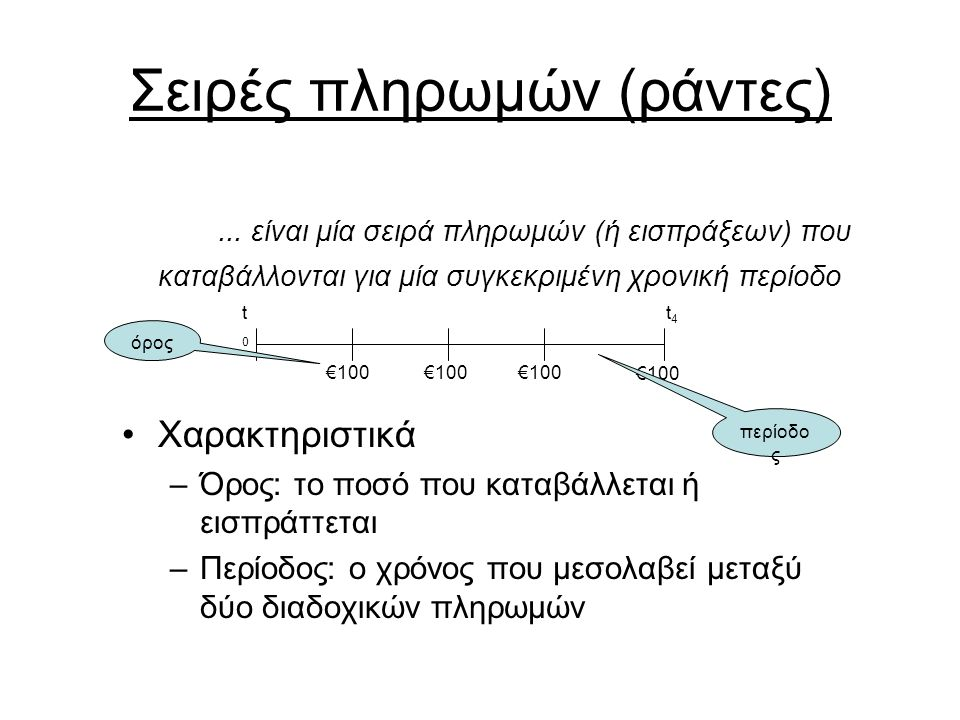 Σειρές πληρωμών (ράντες)... είναι μία σειρά πληρωμών (ή εισπράξεων) που καταβάλλονται για μία συγκεκριμένη χρονική περίοδο Χαρακτηριστικά –Όρος: το πο