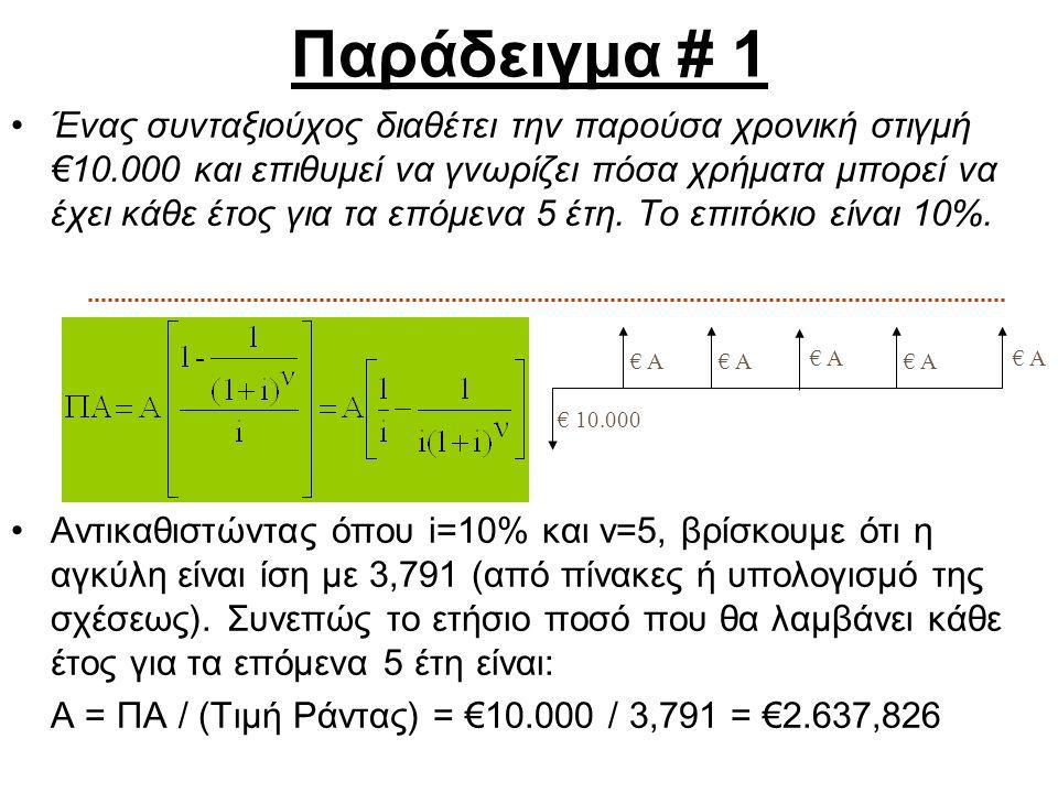 Παράδειγμα # 1 Ένας συνταξιούχος διαθέτει την παρούσα χρονική στιγμή €10.000 και επιθυμεί να γνωρίζει πόσα χρήματα μπορεί να έχει κάθε έτος για τα επό