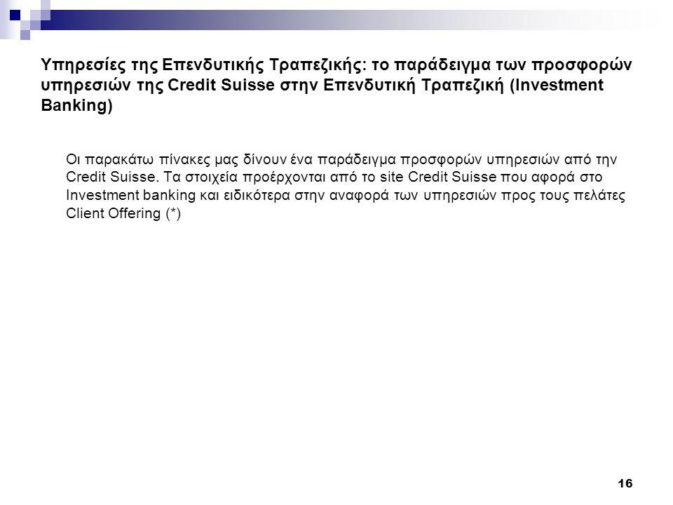 Υπηρεσίες της Επενδυτικής Τραπεζικής: το παράδειγμα των προσφορών υπηρεσιών της Credit Suisse στην Επενδυτική Τραπεζική (Investment Banking) Οι παρακάτω πίνακες μας δίνουν ένα παράδειγμα προσφορών υπηρεσιών από την Credit Suisse.