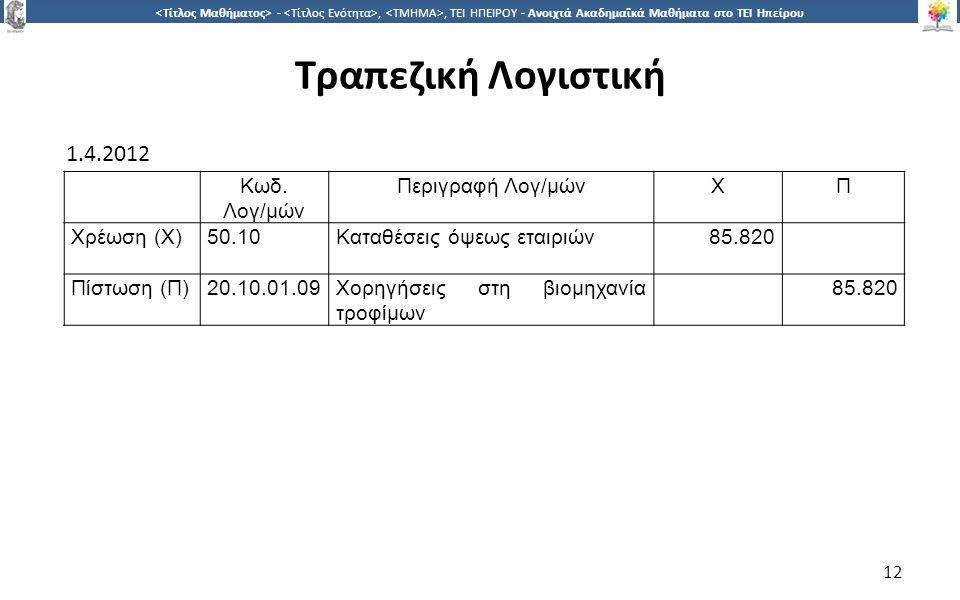 1212 -,, ΤΕΙ ΗΠΕΙΡΟΥ - Ανοιχτά Ακαδημαϊκά Μαθήματα στο ΤΕΙ Ηπείρου Τραπεζική Λογιστική 12 1.4.2012 Κωδ.