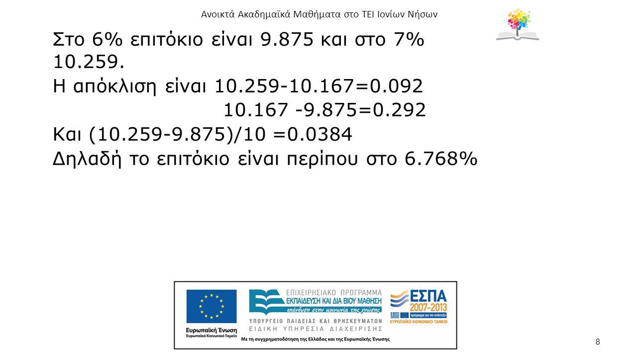8 Στο 6% επιτόκιο είναι 9.875 και στο 7% 10.259.