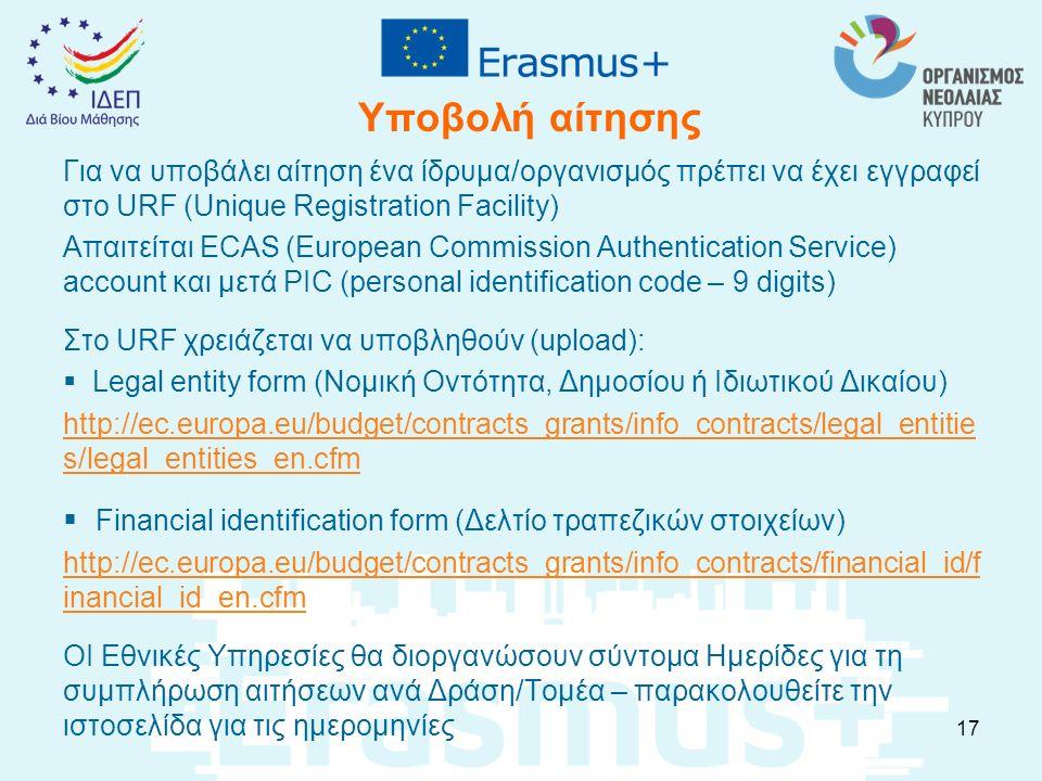Υποβολή αίτησης Για να υποβάλει αίτηση ένα ίδρυμα/οργανισμός πρέπει να έχει εγγραφεί στο URF (Unique Registration Facility) Απαιτείται ECAS (European