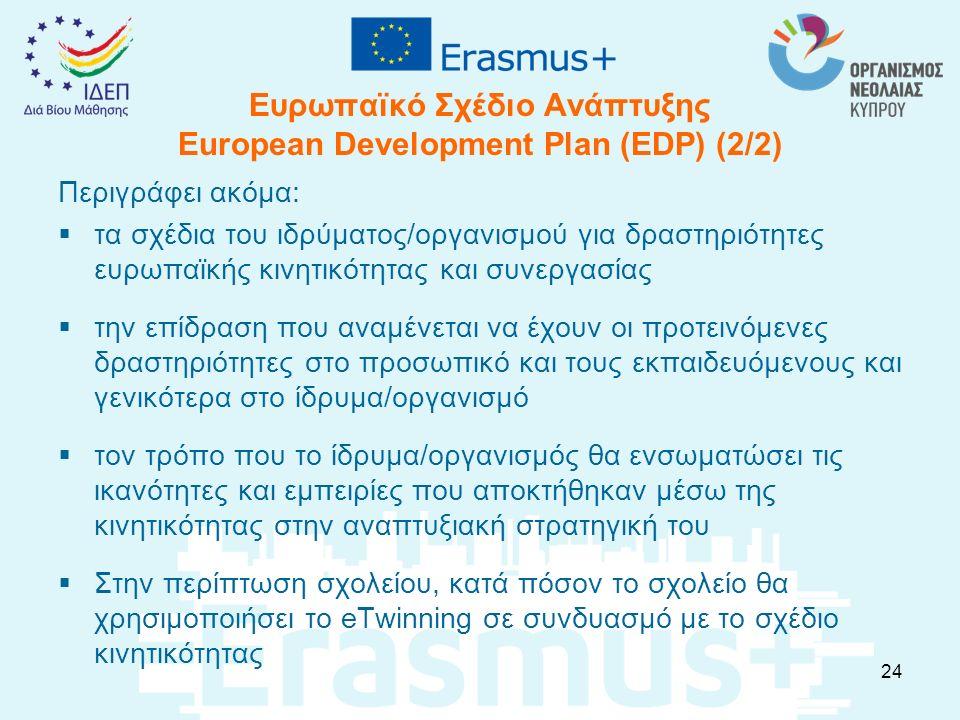 Ευρωπαϊκό Σχέδιο Ανάπτυξης European Development Plan (EDP) (2/2) Περιγράφει ακόμα:  τα σχέδια του ιδρύματος/οργανισμού για δραστηριότητες ευρωπαϊκής