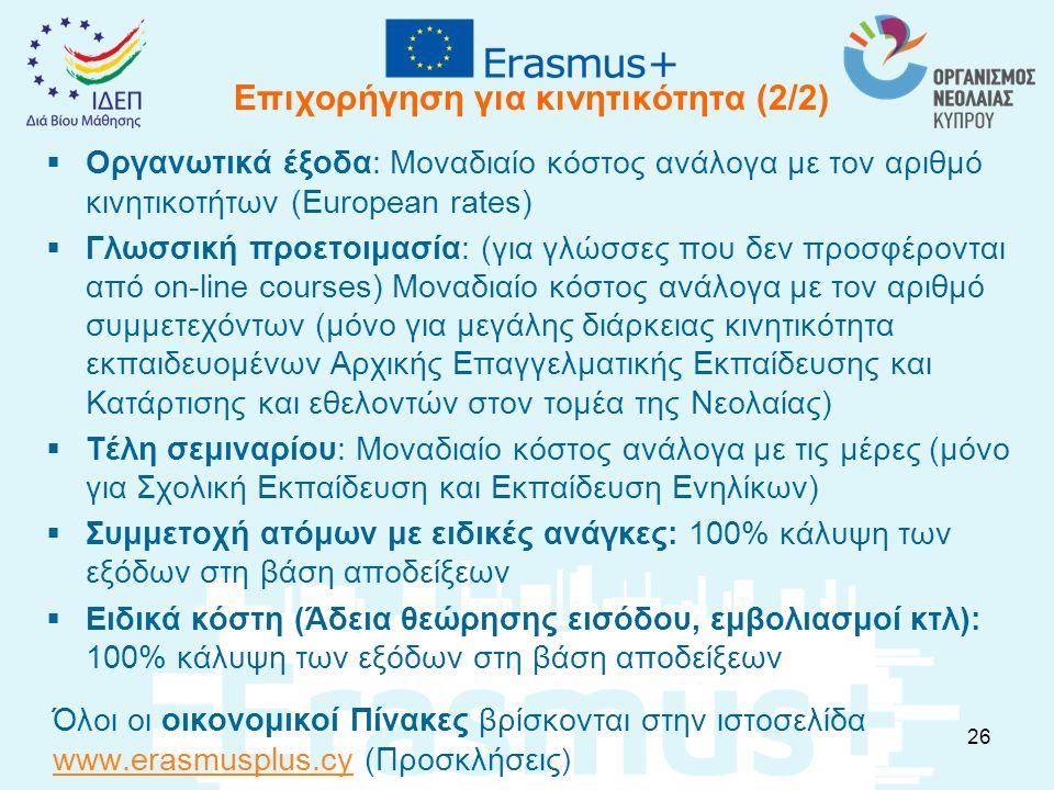 Επιχορήγηση για κινητικότητα (2/2)  Οργανωτικά έξοδα: Μοναδιαίο κόστος ανάλογα με τον αριθμό κινητικοτήτων (European rates)  Γλωσσική προετοιμασία: