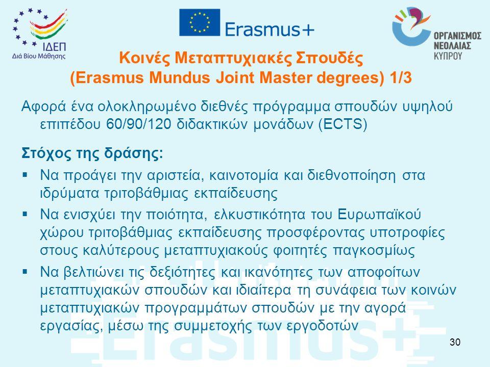 Κοινές Μεταπτυχιακές Σπουδές (Erasmus Mundus Joint Master degrees) 1/3 Αφορά ένα ολοκληρωμένο διεθνές πρόγραμμα σπουδών υψηλού επιπέδου 60/90/120 διδα