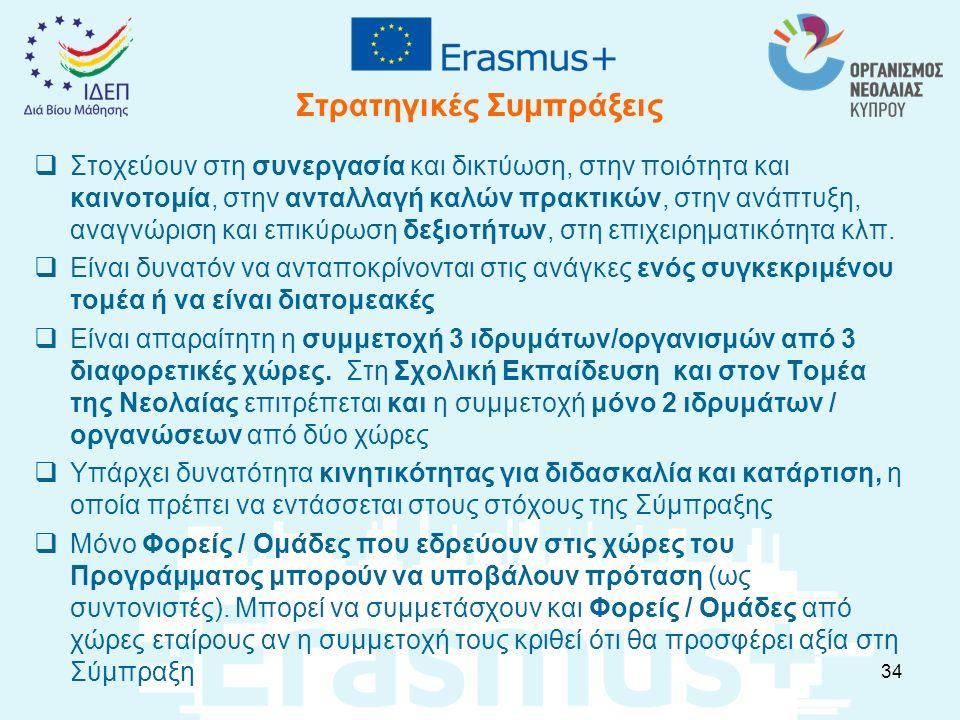 Στρατηγικές Συμπράξεις  Στοχεύουν στη συνεργασία και δικτύωση, στην ποιότητα και καινοτομία, στην ανταλλαγή καλών πρακτικών, στην ανάπτυξη, αναγνώρισ