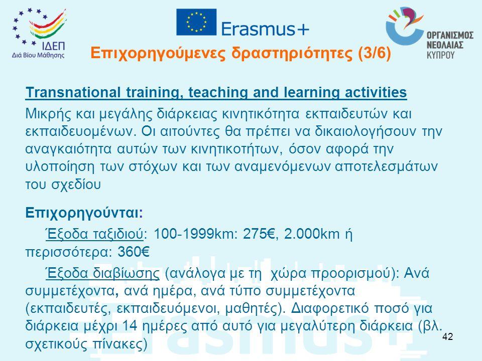 Επιχορηγούμενες δραστηριότητες (3/6) Transnational training, teaching and learning activities Μικρής και μεγάλης διάρκειας κινητικότητα εκπαιδευτών κα