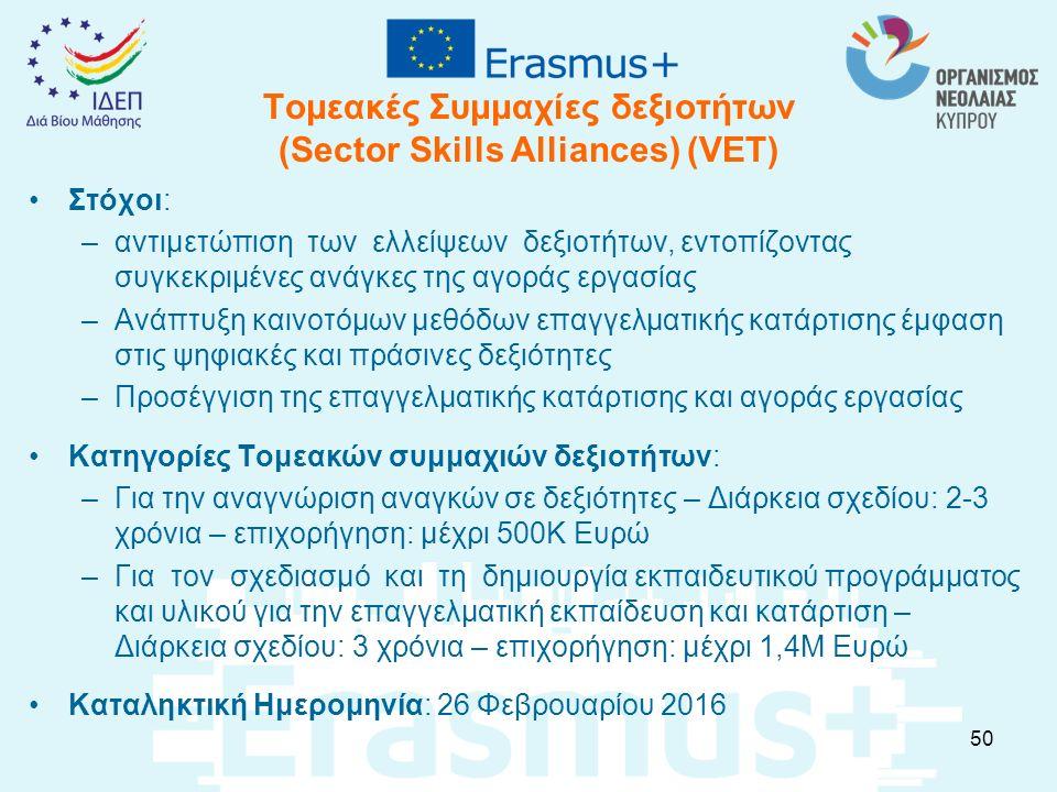 Τομεακές Συμμαχίες δεξιοτήτων (Sector Skills Alliances) (VET) Στόχοι: –αντιμετώπιση των ελλείψεων δεξιοτήτων, εντοπίζοντας συγκεκριμένες ανάγκες της α