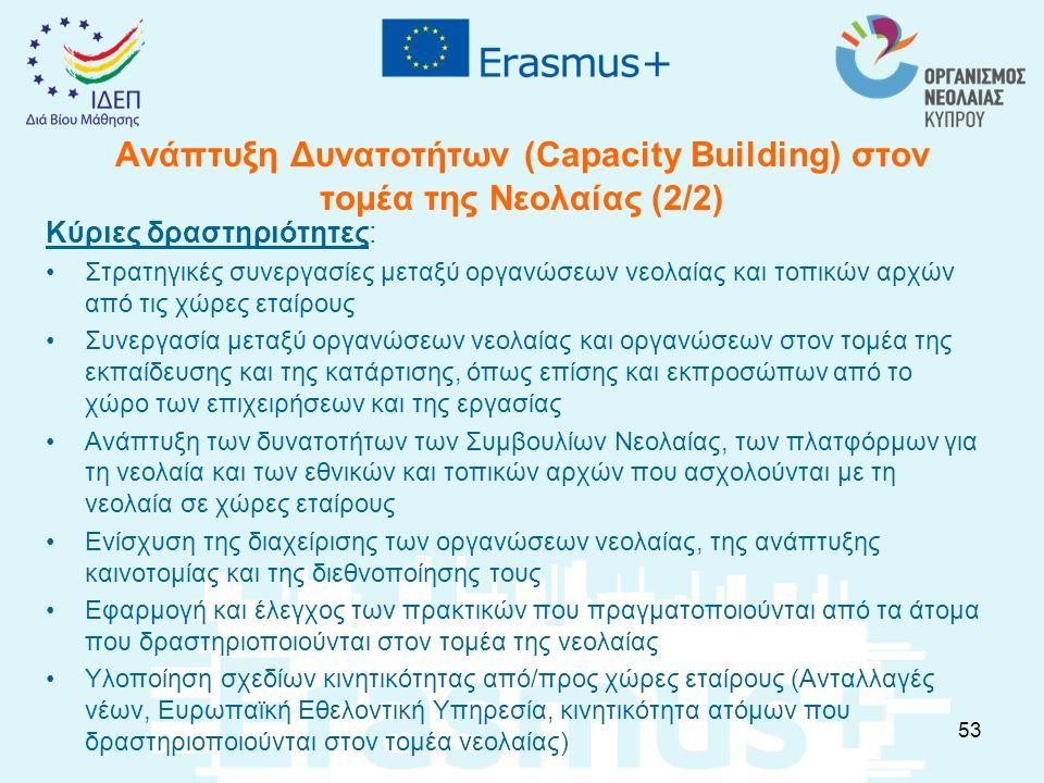 Ανάπτυξη Δυνατοτήτων (Capacity Building) στον τομέα της Νεολαίας (2/2) Κύριες δραστηριότητες: Στρατηγικές συνεργασίες μεταξύ οργανώσεων νεολαίας και τ