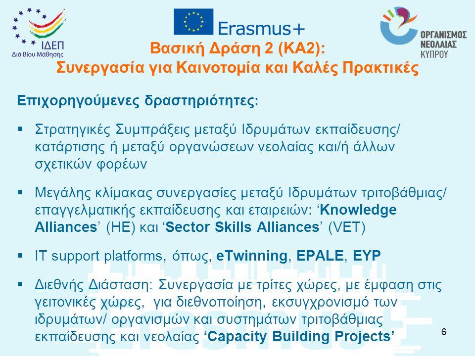 Βασική Δράση 3 (ΚΑ3): Χρηματοδότηση Μεταρρυθμίσεων Πολιτικής  για την προώθηση των Ευρωπαϊκών πολιτικών (ET 2020, EU youth strategy, Bologna and Copenhagen Processes and EU 2020 strategy) και γενικότερα της Ευρωπαϊκής πολιτικής ατζέντας  για τη δημιουργία και προώθηση των Ευρωπαϊκών εργαλείων διαφάνειας (ECTS, ECVET, EQF, Europass, Youthpass, ENQA, ENQAVET, EQAR, NARIC, Eurydice, Euroguidance etc.)  για την ανάπτυξη διαλόγου με Φορείς ενδιαφερόμενους για την εκπαίδευση, κατάρτιση και νεολαία  για την έναρξη διαλόγου με χώρες εταίρους που γειτονεύουν με την ΕΕ και τη συνεργασία με Διεθνείς Οργανισμούς (Διεθνής διάσταση) 7