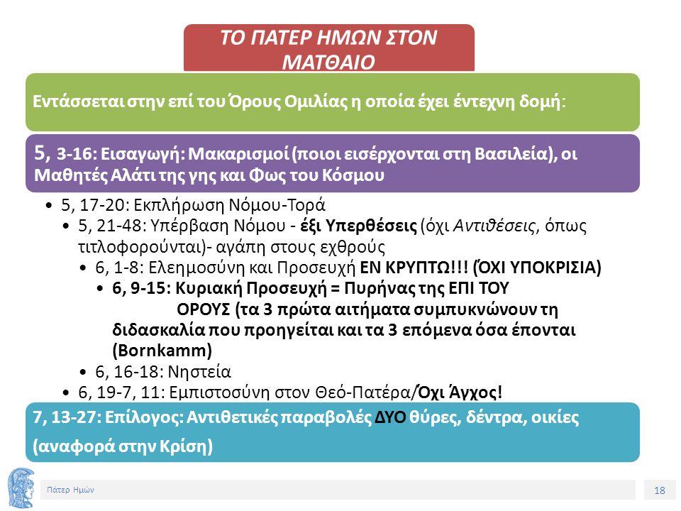 18 Πάτερ Ημών ΤΟ ΠΑΤΕΡ ΗΜΩΝ ΣΤΟΝ ΜΑΤΘΑΙΟ Εντάσσεται στην επί του Όρους Ομιλίας η οποία έχει έντεχνη δομή: 5, 3-16: Εισαγωγή: Μακαρισμοί (ποιοι εισέρχονται στη Βασιλεία), οι Μαθητές Αλάτι της γης και Φως του Κόσμου 5, 17-20: Εκπλήρωση Νόμου-Τορά 5, 21-48: Υπέρβαση Νόμου - έξι Υπερθέσεις (όχι Αντιθέσεις, όπως τιτλοφορούνται)- αγάπη στους εχθρούς 6, 1-8: Ελεημοσύνη και Προσευχή ΕΝ ΚΡΥΠΤΩ!!.