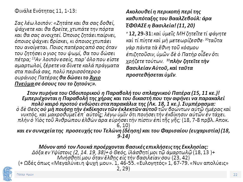 22 Πάτερ Ημών Φινάλε Ενότητας 11, 1-13: Σας λέω λοιπόν: «Ζητάτε και θα σας δοθεί, ψάχνετε και θα βρείτε, χτυπάτε την πόρτα και θα σας ανοιχτεί.