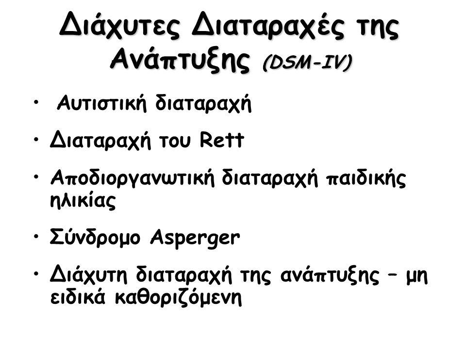 Διάχυτες Διαταραχές της Ανάπτυξης (DSM-IV) Αυτιστική διαταραχή Διαταραχή του Rett Αποδιοργανωτική διαταραχή παιδικής ηλικίας Σύνδρομο Asperger Διάχυτη