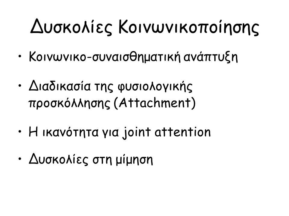 Δυσκολίες Κοινωνικοποίησης Κοινωνικο-συναισθηματική ανάπτυξη Διαδικασία της φυσιολογικής προσκόλλησης (Attachment) Η ικανότητα για joint attention Δυσκολίες στη μίμηση