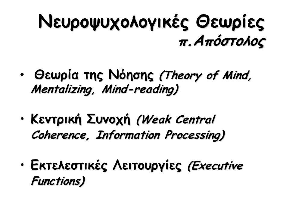 Νευροψυχολογικές Θεωρίες π.Απόστολος Θεωρία της Νόησης (Theory of Mind, Mentalizing, Mind-reading) Κεντρική Συνοχή (Weak Central Coherence, Information Processing)Κεντρική Συνοχή (Weak Central Coherence, Information Processing) Εκτελεστικές Λειτουργίες (Executive Functions)Εκτελεστικές Λειτουργίες (Executive Functions)