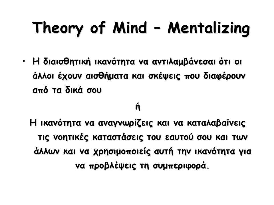 Theory of Mind – Mentalizing Η διαισθητική ικανότητα να αντιλαμβάνεσαι ότι οι άλλοι έχουν αισθήματα και σκέψεις που διαφέρουν από τα δικά σουΗ διαισθητική ικανότητα να αντιλαμβάνεσαι ότι οι άλλοι έχουν αισθήματα και σκέψεις που διαφέρουν από τα δικά σουή Η ικανότητα να αναγνωρίζεις και να καταλαβαίνεις τις νοητικές καταστάσεις του εαυτού σου και των άλλων και να χρησιμοποιείς αυτή την ικανότητα για να προβλέψεις τη συμπεριφορά.