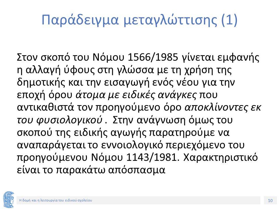 10 Η δομή και η λειτουργία του ειδικού σχολείου Παράδειγμα μεταγλώττισης (1) Στον σκοπό του Νόμου 1566/1985 γίνεται εμφανής η αλλαγή ύφους στη γλώσσα