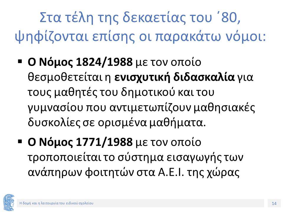 14 Η δομή και η λειτουργία του ειδικού σχολείου Στα τέλη της δεκαετίας του ΄80, ψηφίζονται επίσης οι παρακάτω νόμοι:  Ο Νόμος 1824/1988 με τον οποίο