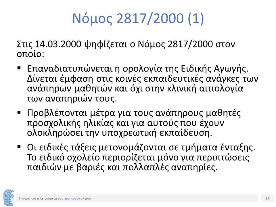 15 Η δομή και η λειτουργία του ειδικού σχολείου Νόμος 2817/2000 (1) Στις 14.03.2000 ψηφίζεται ο Νόμος 2817/2000 στον οποίο:  Επαναδιατυπώνεται η ορολ