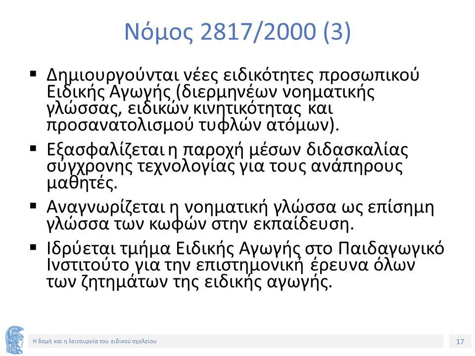 17 Η δομή και η λειτουργία του ειδικού σχολείου Νόμος 2817/2000 (3)  Δημιουργούνται νέες ειδικότητες προσωπικού Ειδικής Αγωγής (διερμηνέων νοηματικής