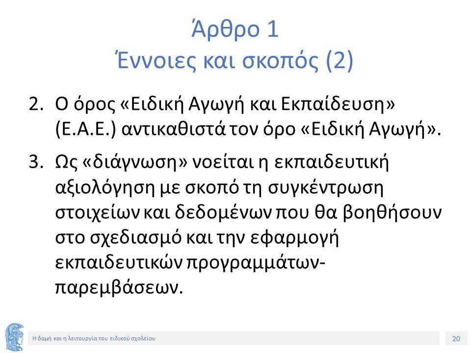 20 Η δομή και η λειτουργία του ειδικού σχολείου Άρθρο 1 Έννοιες και σκοπός (2) 2.Ο όρος «Ειδική Αγωγή και Εκπαίδευση» (Ε.Α.Ε.) αντικαθιστά τον όρο «Ει