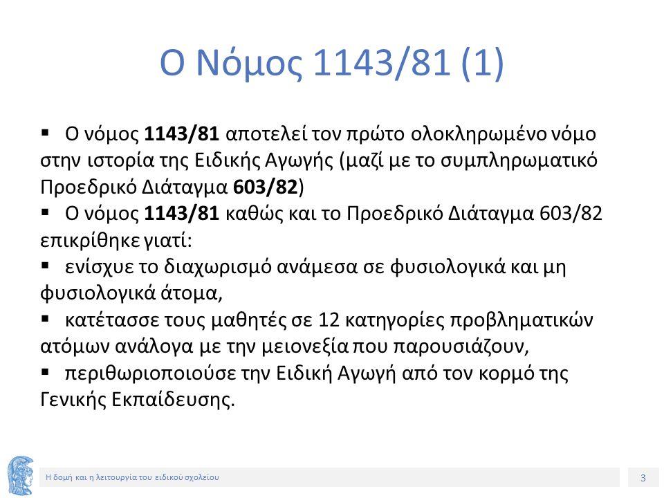 3 Η δομή και η λειτουργία του ειδικού σχολείου Ο Νόμος 1143/81 (1)  Ο νόμος 1143/81 αποτελεί τον πρώτο ολοκληρωμένο νόμο στην ιστορία της Ειδικής Αγω