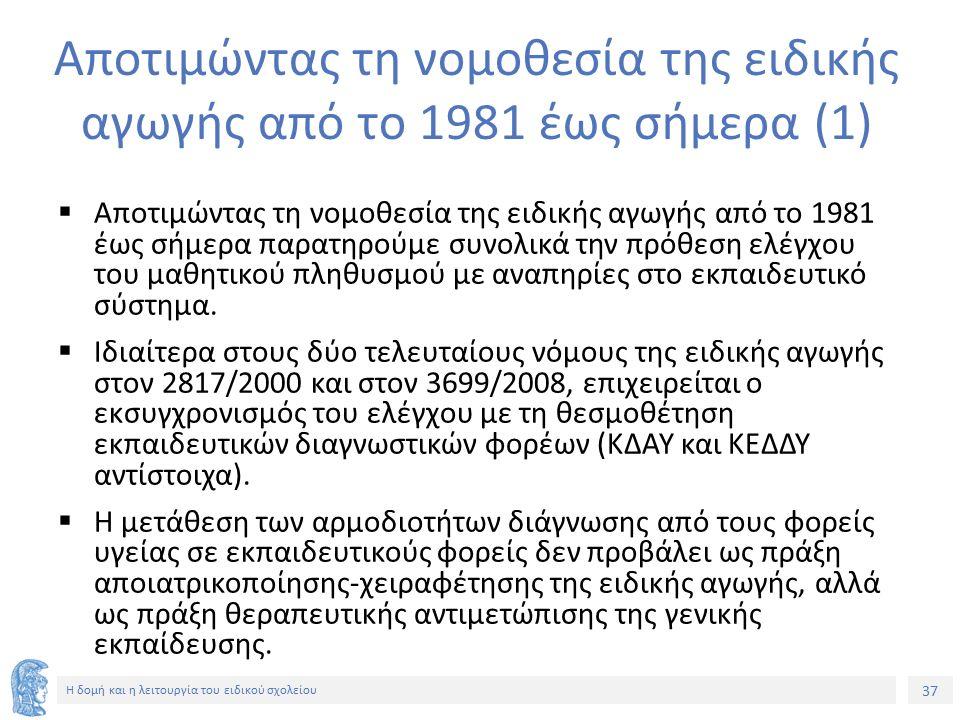 37 Η δομή και η λειτουργία του ειδικού σχολείου Αποτιμώντας τη νομοθεσία της ειδικής αγωγής από το 1981 έως σήμερα (1)  Αποτιμώντας τη νομοθεσία της