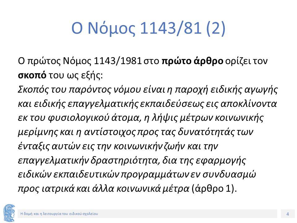 4 Η δομή και η λειτουργία του ειδικού σχολείου Ο Νόμος 1143/81 (2) Ο πρώτος Νόμος 1143/1981 στο πρώτο άρθρο ορίζει τον σκοπό του ως εξής: Σκοπός του π