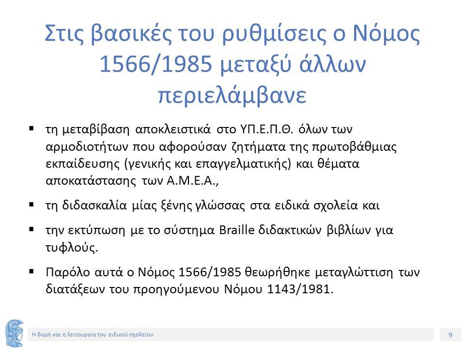 9 Η δομή και η λειτουργία του ειδικού σχολείου Στις βασικές του ρυθμίσεις ο Νόμος 1566/1985 μεταξύ άλλων περιελάμβανε  τη μεταβίβαση αποκλειστικά στο