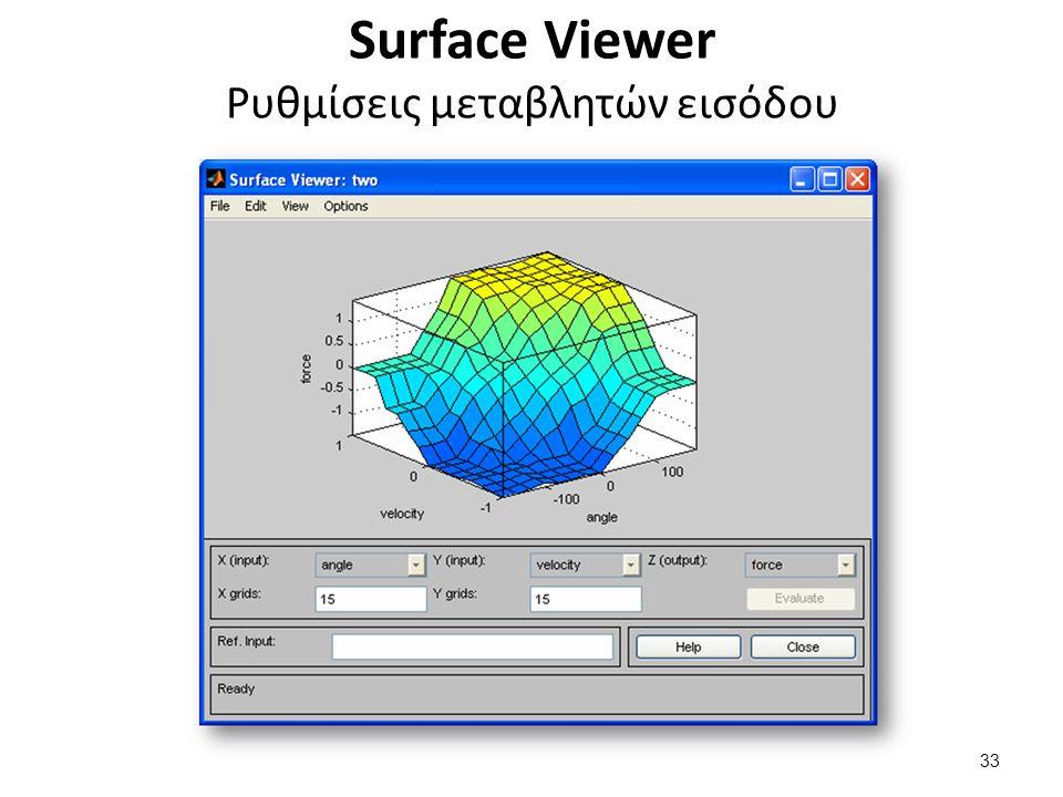 Surface Viewer Ρυθμίσεις μεταβλητών εισόδου 33