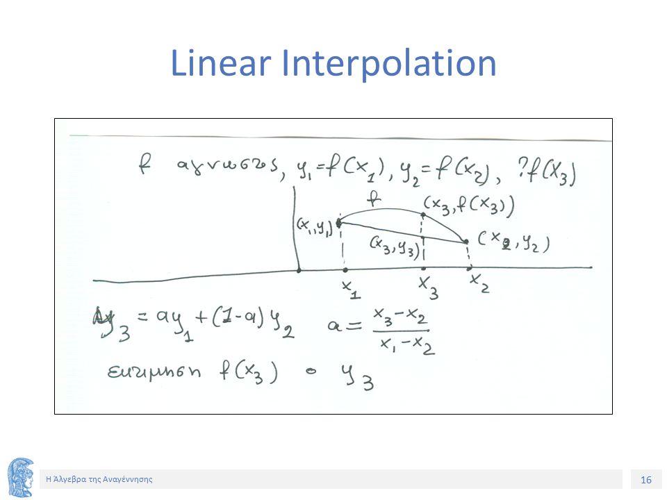16 Η Άλγεβρα της Αναγέννησης Linear Interpolation