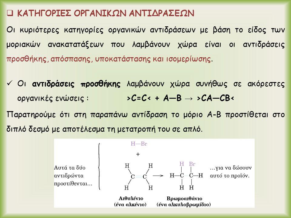  ΚΑΤΗΓΟΡΙΕΣ ΟΡΓΑΝΙΚΩΝ ΑΝΤΙΔΡΑΣΕΩΝ Οι κυριότερες κατηγορίες οργανικών αντιδράσεων με βάση το είδος των μοριακών ανακατατάξεων που λαμβάνουν χώρα είναι οι αντιδράσεις προσθήκης, απόσπασης, υποκατάστασης και ισομερίωσης.