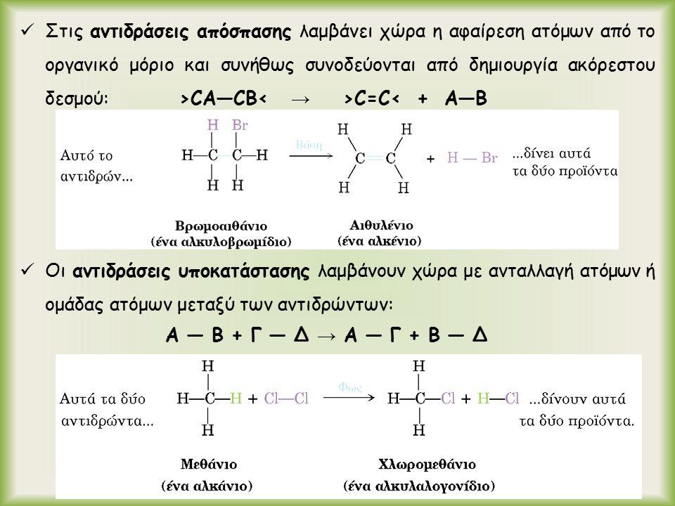 Στις αντιδράσεις απόσπασης λαμβάνει χώρα η αφαίρεση ατόμων από το οργανικό μόριο και συνήθως συνοδεύονται από δημιουργία ακόρεστου δεσμού: >CA―CB C=C< + A―B Οι αντιδράσεις υποκατάστασης λαμβάνουν χώρα με ανταλλαγή ατόμων ή ομάδας ατόμων μεταξύ των αντιδρώντων: A ― B + Γ ― Δ → A ― Γ + Β ― Δ