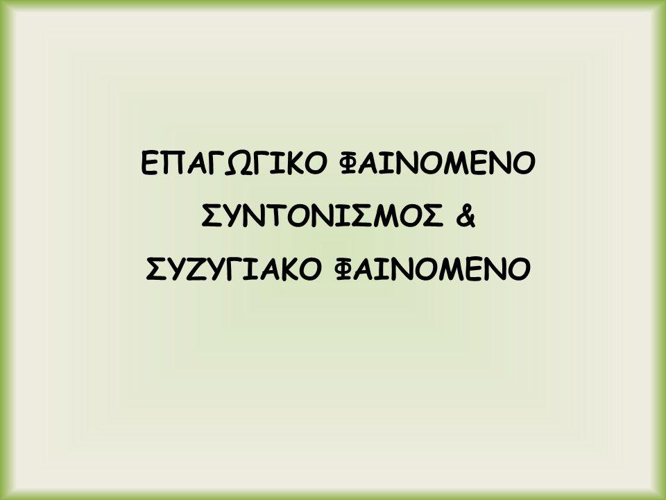 ΕΠΑΓΩΓΙΚΟ ΦΑΙΝΟΜΕΝΟ ΣΥΝΤΟΝΙΣΜΟΣ & ΣΥΖΥΓΙΑΚΟ ΦΑΙΝΟΜΕΝΟ