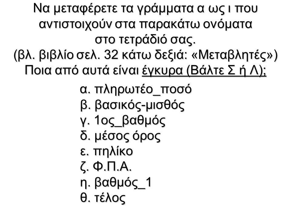 Να μεταφέρετε τα γράμματα α ως ι που αντιστοιχούν στα παρακάτω ονόματα στο τετράδιό σας.